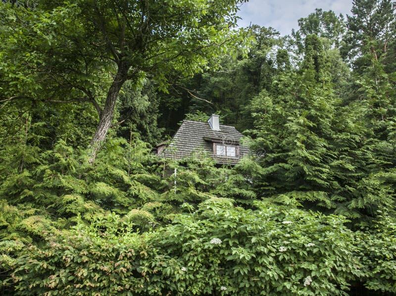 Kazimierz Dolny Polen - i det woods/a dolde huset royaltyfri fotografi