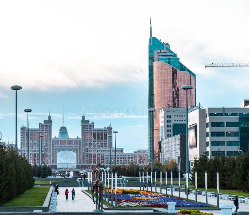 05.10.2011 KazMunaiGas and Transport Tower at the Nurzhol boulevard, Nur-Sultan, Astana; Kazakhstan stock photo