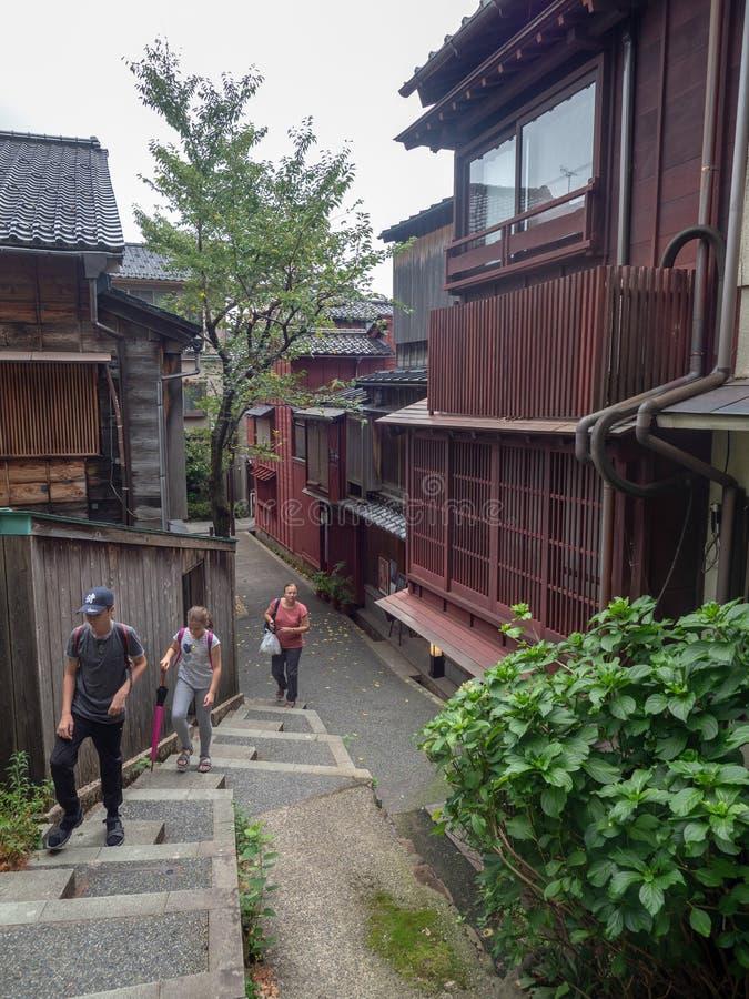 Kazuemachi区在今池,日本 免版税库存图片