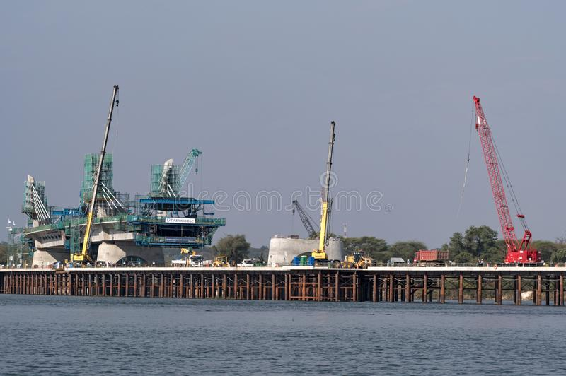 Kazungula bridge, road and rail bridge under construction over t stock photos
