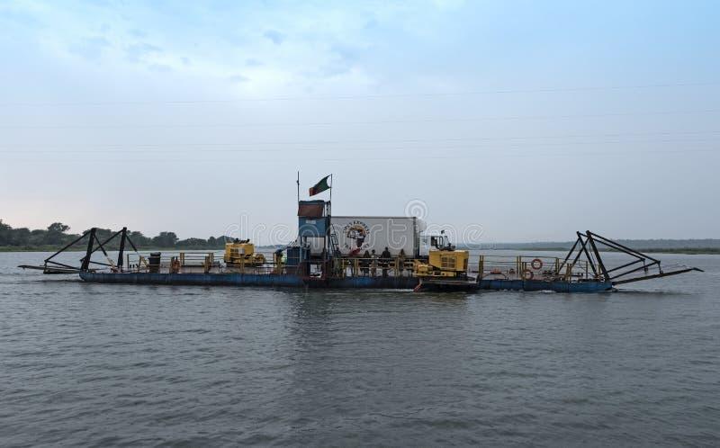 The Kazungula pontoon ferry over the Zambezi River between Botswana and Zambia royalty free stock images
