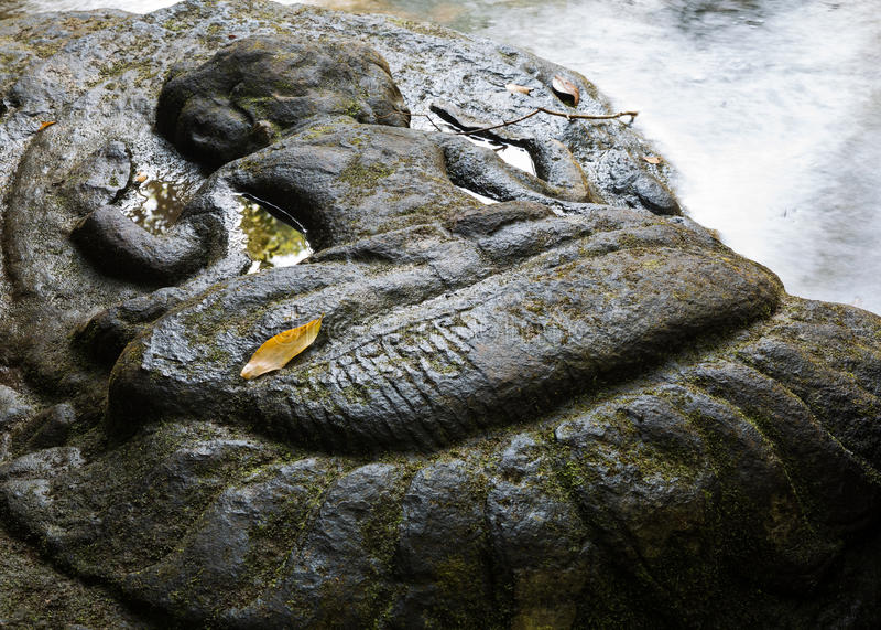 Kbal Spean river carvings. Eroded carvings adorn riverbed at Kbal Spean in Cambodia stock image