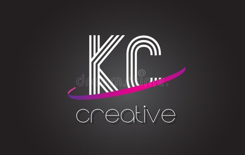 KC K C与线设计和紫色Swoosh的信件商标 皇族释放例证