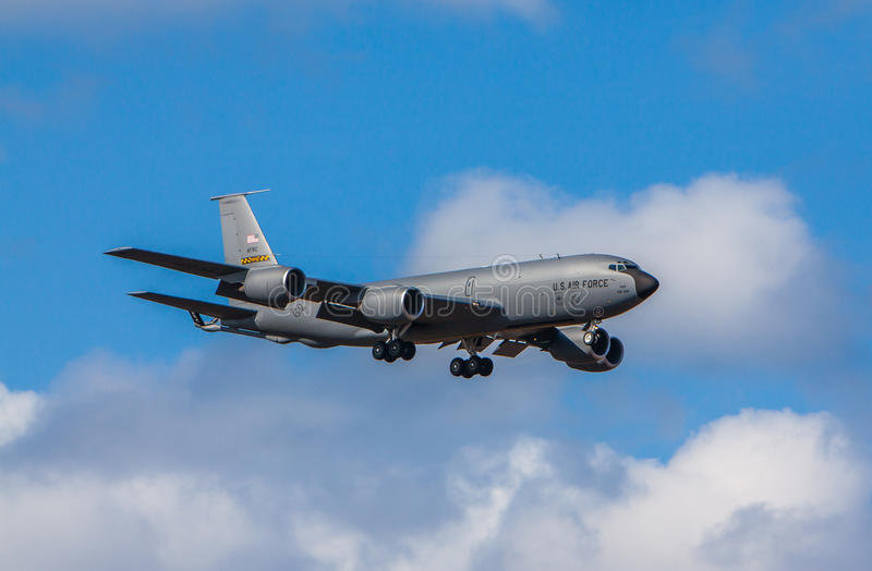 KC-135 Stratotanker. Image of KC-135 air-refueling plane approaching kef airport in Iceland 2011 during the Northern Viking exercise, which is an annual NATO royalty free stock photo