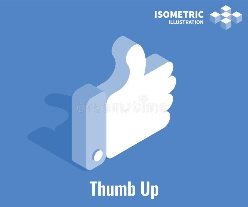 kciuk ikona kciuk Ogólnospołecznej sieci wektorowa 3D ilustracja Jak symbol odizolowywający na błękitnym tle ilustracja wektor