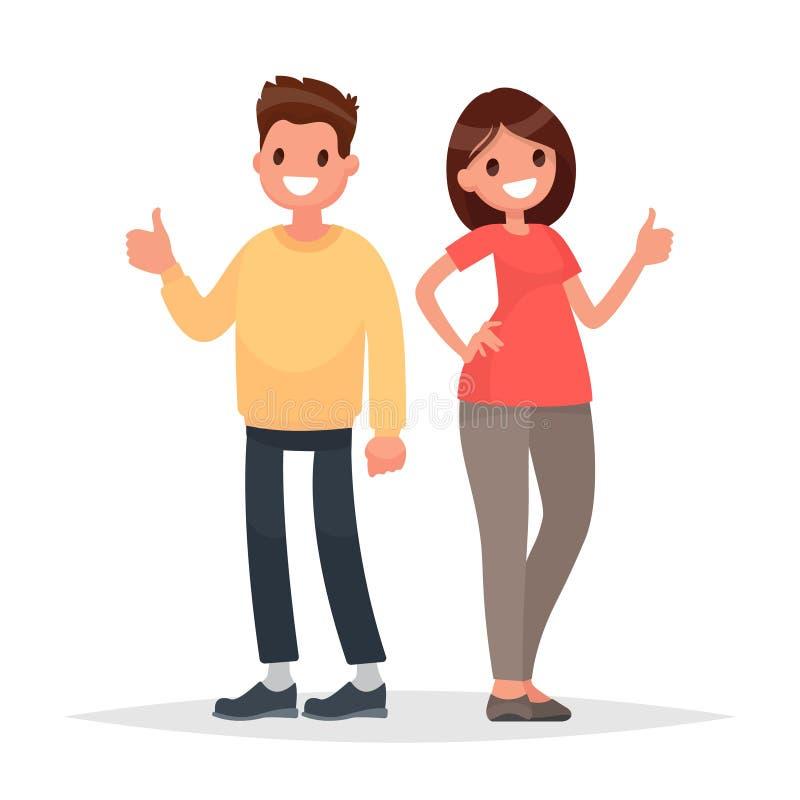 Kciuk podnoszący up chłodno Mężczyzna i kobiety przedstawienia zatwierdzenia gest Vect ilustracji