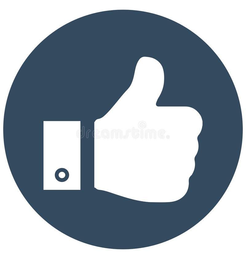 Kciuk Up Odizolowywająca Wektorowa ikona może być łatwo redaguje i modyfikuje royalty ilustracja