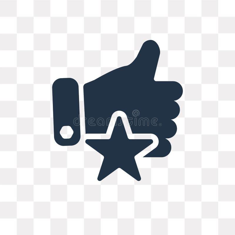 Kciuk up z gwiazdową wektorową ikoną odizolowywającą na przejrzystym backgroun royalty ilustracja