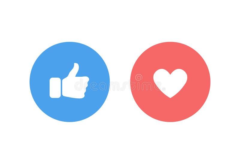 Kciuk w górę i serce w błękicie i czerwonym okręgu lubimy na ogólnospołecznej sieci Jak, przegląda pojęcie ikony i docenia Odizol ilustracja wektor