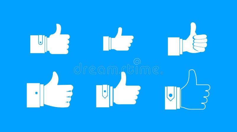 Kciuk w górę ikona błękitnego ustalonego wektoru royalty ilustracja