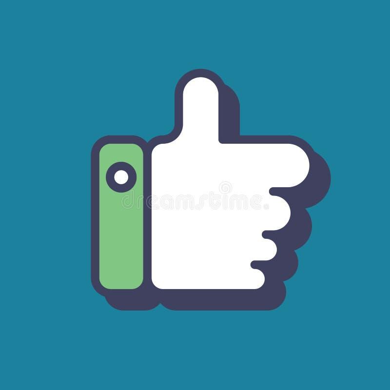 Kciuk w górę ikony, błękitny wektorowy logo jak symbol Płaska ilustracja ilustracja wektor