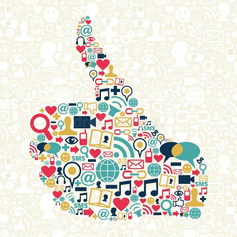 Kciuk w górę ikony Ogólnospołecznej medialnej tekstury ilustracji