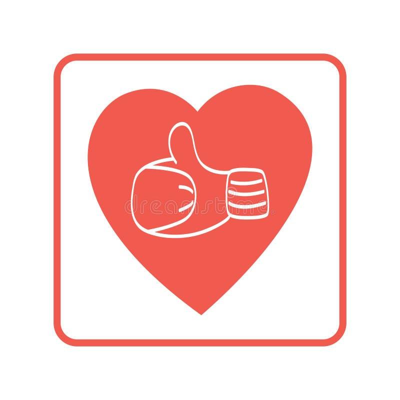 Kciuk w górę ikony, wektorowa logo ilustracja Ręka w mitynce w sercu ilustracja wektor