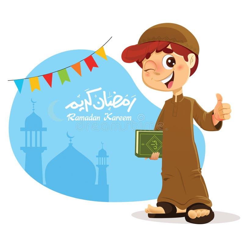 Kciuk W górę Młodej Muzułmańskiej chłopiec mienia koranu książki ilustracji
