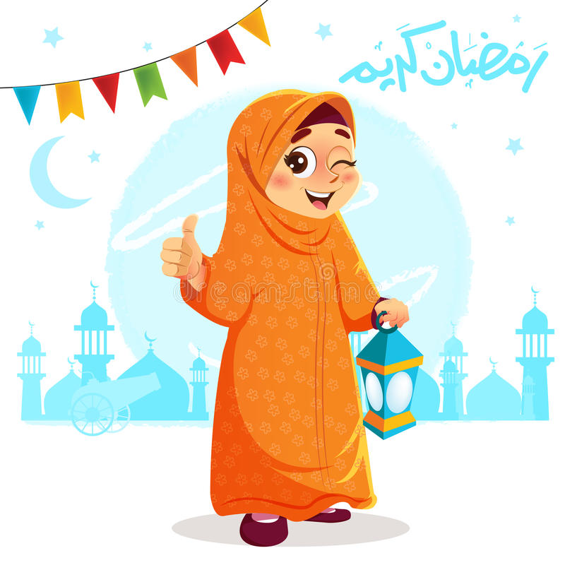 Kciuk W górę Młodej Muzułmańskiej dziewczyny Świętuje Ramadan royalty ilustracja
