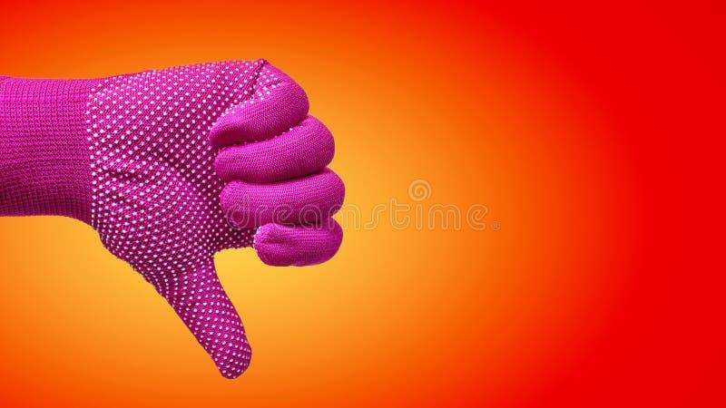 Kciuka puszka ręki gest w rękawiczce Odizolowywającej na Czerwonym Pomarańczowym tle zdjęcie royalty free