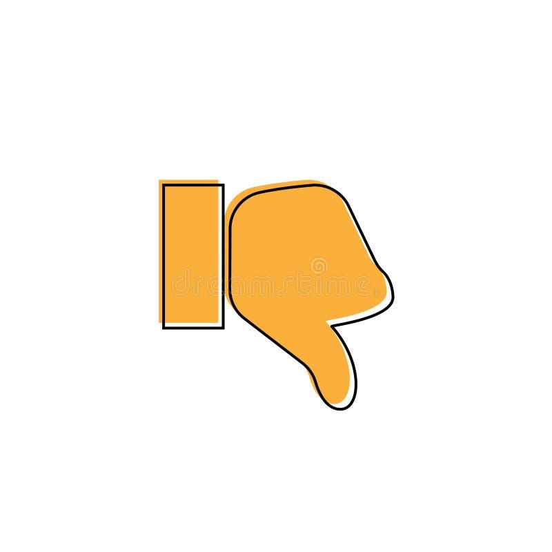 Kciuka puszka wektoru ikona Styl jest płaskim symbolem, pomarańczowy kolor, zaokrąglający kąty, biały tło ilustracji