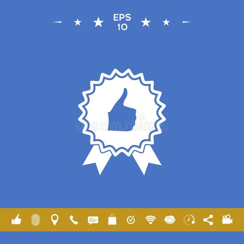Kciuka Up gest - etykietka z faborkami Kciuk w górę ikony - wysoki wynik najlepszy wybór wysoka ocena royalty ilustracja