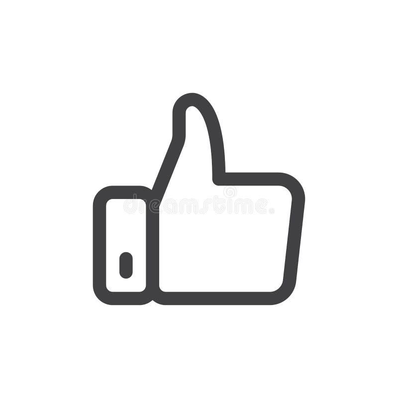 Kciuka up kreskowa prosta ikona ilustracji
