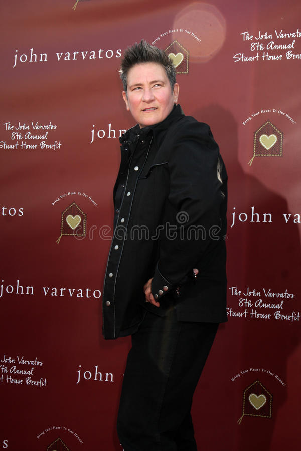KD LANG. LOS ANGELES - MAR 13: kd Lang arriving at the John Varvatos 8th Annual Stuart House Benefit at John Varvaots Store on March 13, 2011 in Los Angeles, CA royalty free stock image