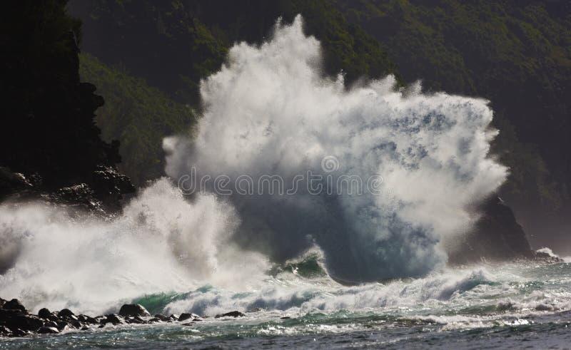 Ke ` e海滩,超级波浪,考艾岛,夏威夷 免版税库存照片