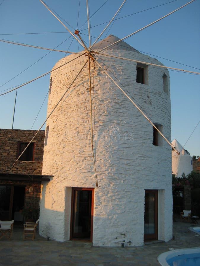 Kea,希腊风车之家 图库摄影