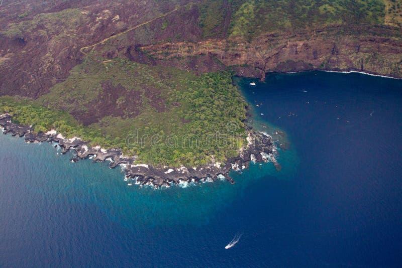 Kealakekua Bay. Aerial shot of the Kealakekua Bay on the west coast of Big Island, Hawaii, USA stock photo