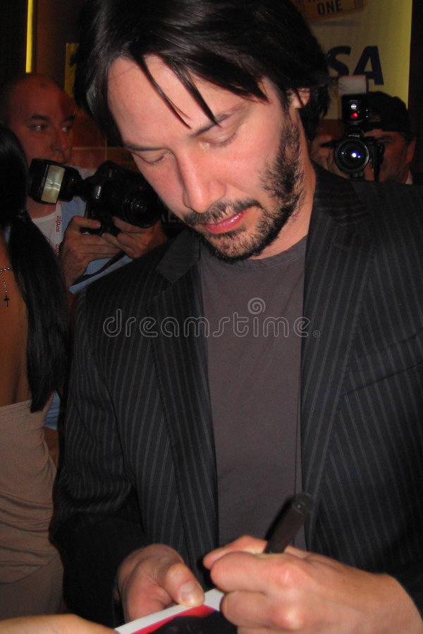 Keanu Reeves. Signs autographs at the Toronto Film Festival stock image