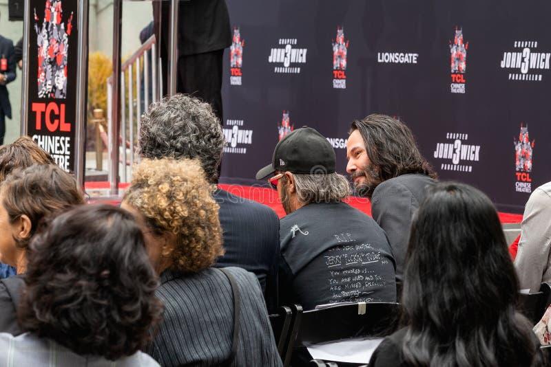 Keanu Reeves Il Handprints e le orme dell'attore cementati sul boulevard di Hollywood fotografia stock libera da diritti