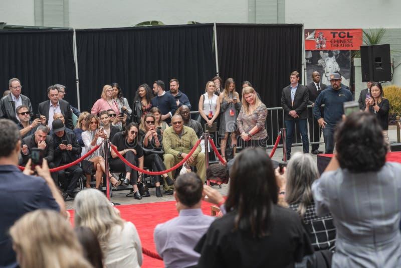 Keanu Reeves O Handprints e as pegadas do ator cimentados no bulevar de Hollywood fotografia de stock royalty free