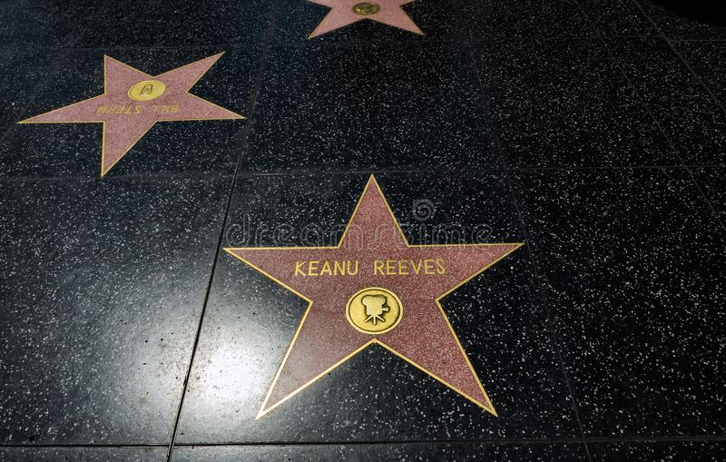 Keanu Reeves`s Star, Hollywood Walk of Fame - August 11th, 2017 - Hollywood Boulevard, Los Angeles, California, CA. USA royalty free stock photos