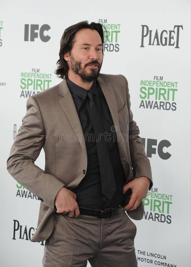 Keanu Reeves. SANTA MONICA, CA - MARCH 1, 2014: Keanu Reeves at the 2014 Film Independent Spirit Awards on the beach in Santa Monica, CA stock photography
