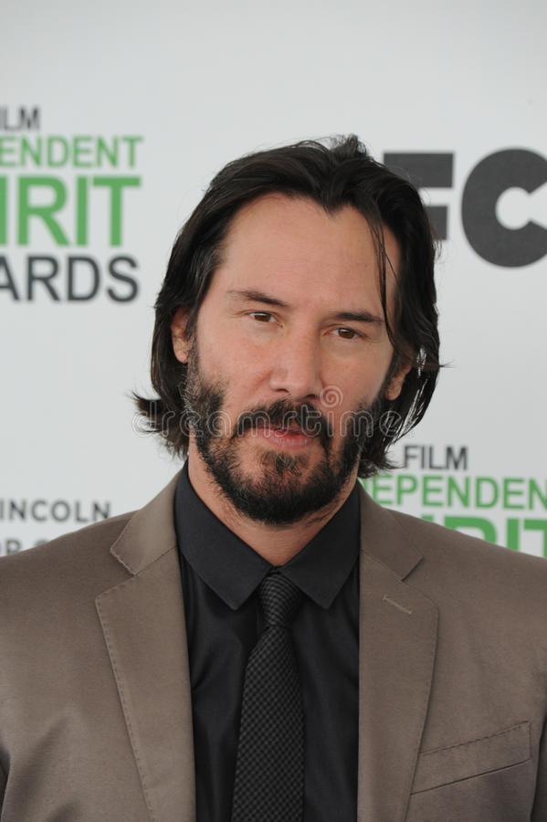 Keanu Reeves. SANTA MONICA, CA - MARCH 1, 2014: Keanu Reeves at the 2014 Film Independent Spirit Awards on the beach in Santa Monica, CA royalty free stock image