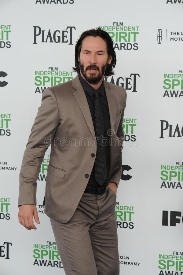 Keanu Reeves. SANTA MONICA, CA - MARCH 1, 2014: Keanu Reeves at the 2014 Film Independent Spirit Awards on the beach in Santa Monica, CA royalty free stock photography