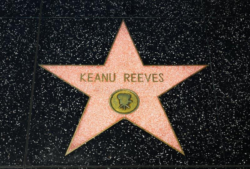 Keanu Reeves Star na caminhada de Hollywood da fama imagem de stock