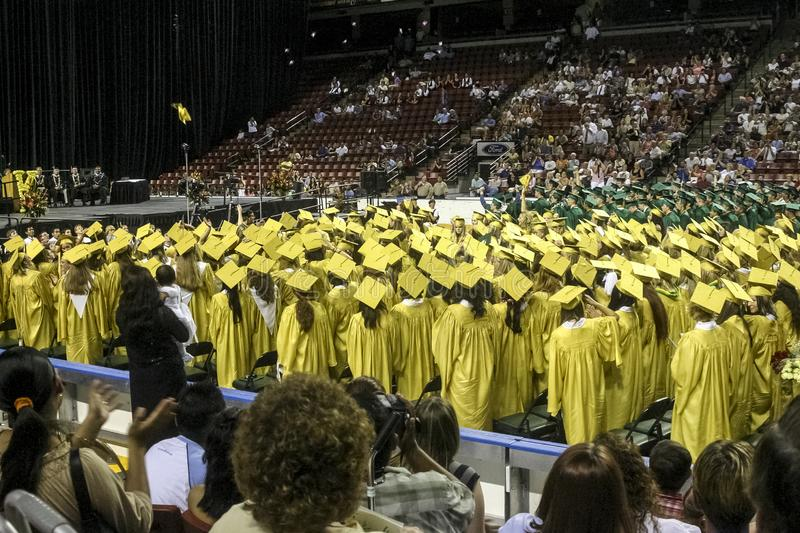 Kearns High School graduation held at the Maverik Center in West Valley City, Utah USA in 2004 stock images