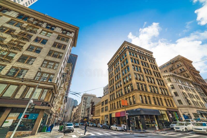 Kearny en Bush-straatkruispunt in San Francisco van de binnenstad stock foto