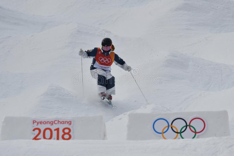 Keaton McCargo of the United States competes in the Ladies` Moguls Qualification at the 2018 Winter Olympics. PYEONGCHANG, SOUTH KOREA - FEBRUARY 9, 2018: Keaton royalty free stock image
