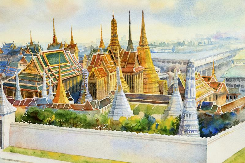 Keaw Banguecoque palácio e do phra grandes de Wat, Tailândia ilustração royalty free