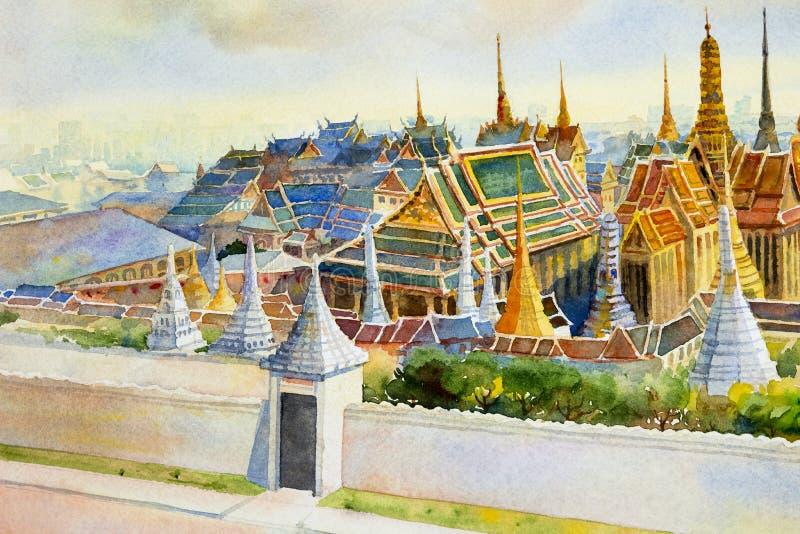 Keaw palácio e do phra grandes reais de Wat em Banguecoque, Tailândia ilustração royalty free