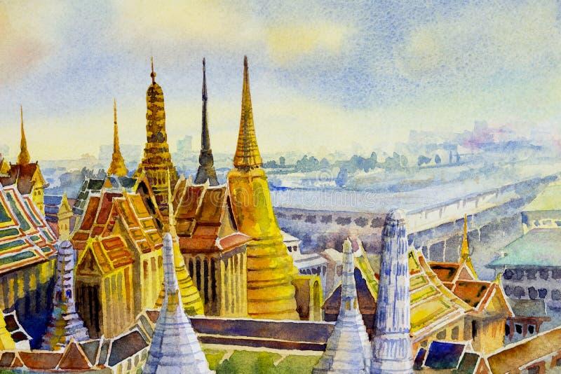 Keaw palácio e do phra grandes reais de Wat em Banguecoque, Tailândia ilustração do vetor