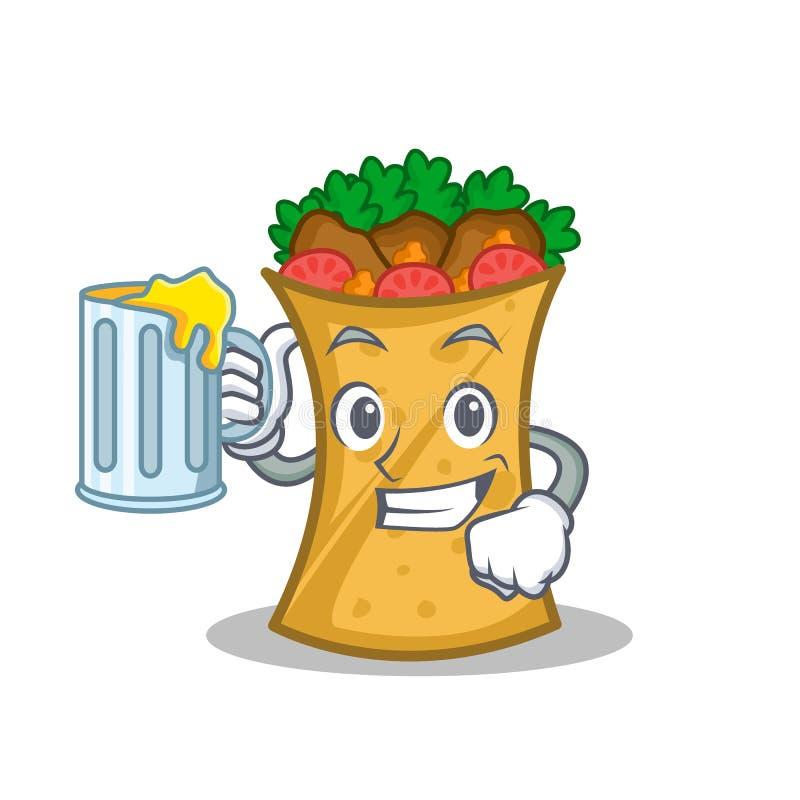Kebab套字符动画片用汁液 皇族释放例证