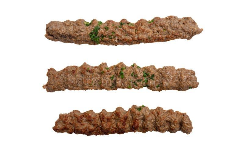 Kebab,传统土耳其语,希腊肉食物,被隔绝的保险开关,白色背景 库存图片