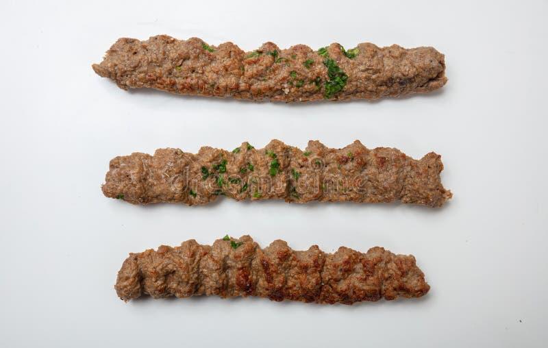Kebab,传统土耳其语,希腊肉食物,隔绝在白色背景 免版税库存图片