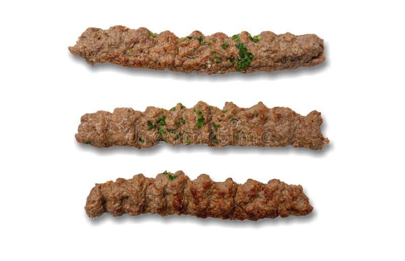 Kebab,传统土耳其语,希腊肉食物,隔绝在白色背景 库存照片