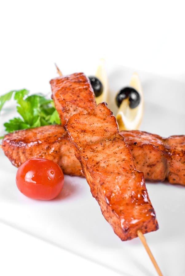 kebab łosoś obraz stock