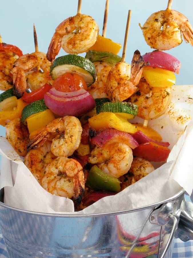 kebab οβελίδια γαρίδων στοκ εικόνα με δικαίωμα ελεύθερης χρήσης