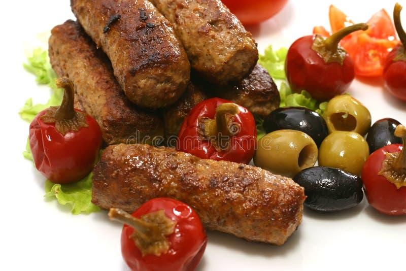 kebab ρόλοι πιπεριών ελιών στοκ εικόνα