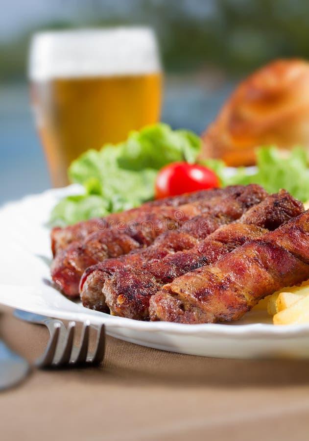 Kebab и пиво стоковое изображение