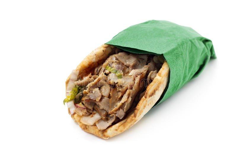 Kebab обернуло с салфеткой стоковое изображение rf